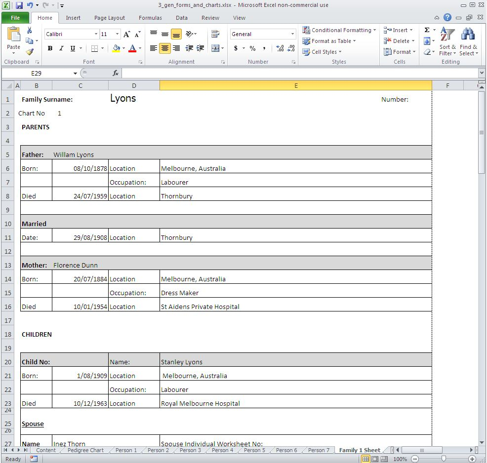 Excel genealogy worksheets
